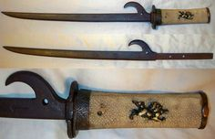 Hachiwari (hachi-wara, kabuto-wari), there are two types of hachi-wari, one is a sharp dirk type of weapon, the other is a blunt iron truncheon weapon in the shape of a hachiwari. This hachiwari is a rare type it has a sharp point as well as being a heavy iron truncheon, it is also unusual in that it is mounted with a tsuka (handle), in the style of a Japanese sword.