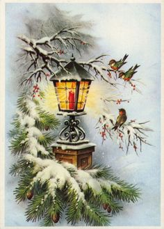 Ideas For Vintage Christmas Greetings Noel Christmas Lanterns, Christmas Scenes, Christmas Past, Christmas Greetings, Christmas Holidays, Christmas Crafts, Christmas Decorations, Homemade Christmas, Christmas Ideas