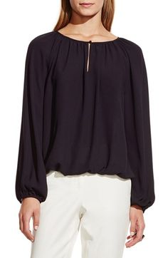 Vince Camuto Shirred Neck Peasant Blouse (Regular & Petite) available at #Nordstrom