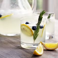 Rosemary, blueberries, lemons......just add something sparkling!