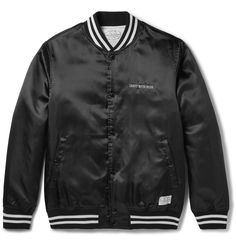 <a href='http://www.mrporter.com/mens/Designers/Neighborhood'>Neighborhood</a>'s founder Mr Shinsuke Takizawa cites motorcycles, Japan's Harajuku district and Mr Steve McQueen among his diverse sources of inspiration. This bomber jacket is cut from lustrous satin and embroidered with 'Craft with pride'. Designed for light insulation, it has a diamond-quilted lining and striped jersey trims that define its sporty shape and ...