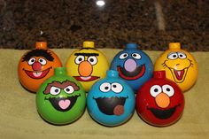 Sesame St Christmas tree ornaments coming together nicely.  Not as hard as I thought it would be to paint the faces.
