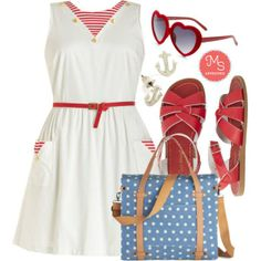 I'm On a Paddle Boat Dress, Outer Bank on It Sandal in Red, Camp Director Tote in Day Camp, Looking for Love Sunglasses, Just Drop By Earrings - modcloth.com