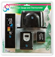 Headwind 8201750 Digital Color LCD Rain Gauge and Thermometer by Headwind. $19.99. Color LCD display with battery back-up. Self emptying wireless rain collection cup; low battery indicator. Indoor and outdoor temperature. Digital rain gauge and thermometer. Track accumulated rainfall amounts. Digital rain gauge and thermometer. Measure rain and outdoor temperature from inside the house with wireless color LCD display. Animated rainfall reading. Indoor and outdoo...