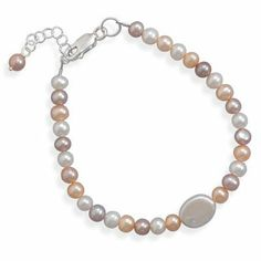 "7""+1"" Extension Multicolor Round/Oval Coin Cultured Freshwater Pearl Bracelet Fribbons. $59.50"