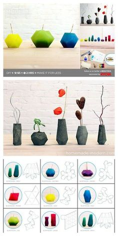 DIY Geometric Candles or Concrete Vases Tutorial and Templates from HomeMade Modern here. Eight templates to choose from and excellent instructions. First seen on inspiration realisations FB page. (link: http://truebluemeandyou.tumblr.com/post/48555517897/diy-geometric-candles-concrete-vases-tutorial-template ) diy project, cool diy, minimal diy, coloblock diy, diy projects