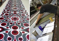 Innovation showing detail in production, with wallpapers hand printed. A big undertaking for a large scale production. Exquisite attention to detail, showing Florence's design ethic. Textile Patterns, Textile Design, Fabric Design, Textiles, Kiki Smith, Franz Kline, Robert Rauschenberg, Gerhard Richter, Richard Hamilton