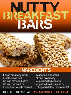 Paleo Breakfast Nutty Breakfast Bars Image with Ingredients