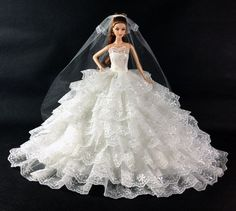 Free shipping Evening Dress Party 8 layers of luxury white wedding Outfit Gown Skirt for Barbie Doll-in Dolls Accessories from Toys & Hobbies on Aliexpress.com