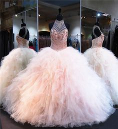 Ball Gown Halter Open Back Champagne Tulle Ruffle Quinceanera Prom Dress