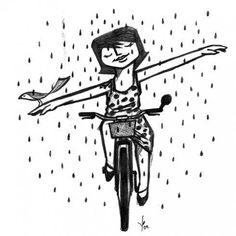 Riding in the rain!   Do you share this feeling? Así me siento cuando ando en bici :)