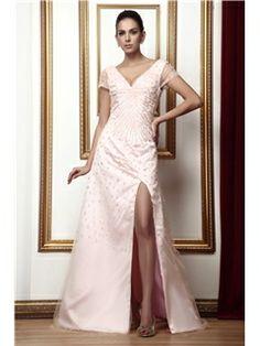 Graceful Beaded Split Front A-Line V-Neck Floor-Length Taline's Mother of the Bride Dress