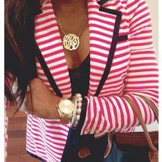 urchelbelle:  Pink stripe #lillypulitzer blazer // #ootd #longchamp #preppystyle #DavidYurman #MichealKors #preppy #monogramnecklace #prep