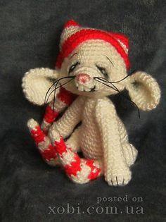 смешной мышонок вязаный крючком