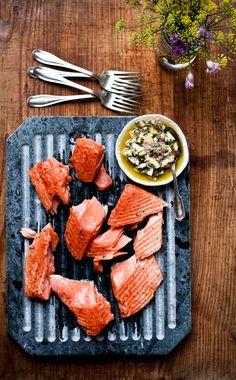 Slow Cooked Salmon with Meyer Lemon Relish - shallot, lemon juice, meyer lemon, olive oil, parsley