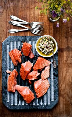 Slow Cooked Salmon with Meyer Lemon Relish from Yummy Supper