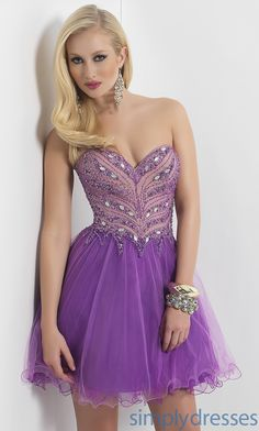 Short Strapless Sweetheart with Sequin Embellishments BL-9407