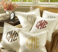 My next project: make these monogram appliquéd pillows with the cricut & iron on vinyl