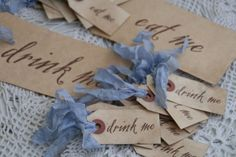 Rocking the ribbon. Drink Tags, Drink Me, Decorated Jars, High Tea, Alice In Wonderland, Tea Party, Place Card Holders, Scrapbooking Ideas, Layouts