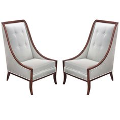 Pair of High Back Lounge Chairs Framed in Mahogany by John Widdicomb White Wooden Rocking Chair, Modern Lounge, Lounge Chairs, Accent Chairs, Pairs, Antiques, Frame, Furniture, Collection