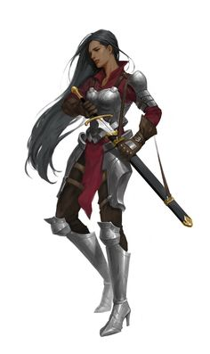 developing sets of character illustrations to show on gaming cards Female Character Design, Character Design Inspiration, Character Art, Dnd Characters, Fantasy Characters, Female Characters, Female Armor, Female Knight, Fantasy Women