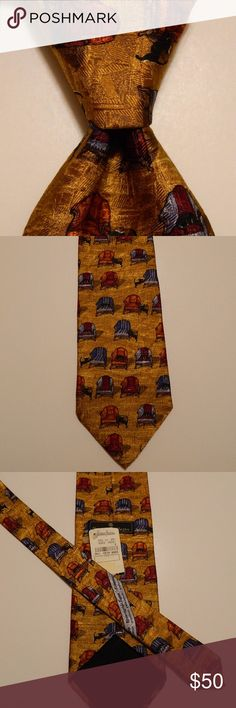 "ERMENEGILDO ZEGNA Silk Necktie CHAIRS/Dogs NWT ERMENEGILDO ZEGNA Men's Silk Necktie ITALY Luxury Novelty CHAIRS & DOGS Gold NWT  ·        Brand: Ermenegildo Zegna ·        Style: Neck Tie ·        Color: Gold/Red/Orange/Blue ·        Material: 100% Silk ·        Attachment: Tied ·        Length: Classic 59"" ·        Width: Classic 3 3/4"" ·        Pattern: Novelty (Chairs & Dogs) ·        Country/Region of Manufacturer: Italy ·        Condition: Brand NEW w/Tags Ermenegildo Zegna Accessories…"