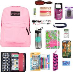 Back to School by justglitterandme featuring conair hair pins  liked on PolyvoreMead Five Star 7 Pocket Expanding File / JanSport rucksack / Cellphone case / Forever 21floral hair accessory / Conair hair pin / Lacoste head wrap headband / Lancme lengthening mascara / Mason Pearson brush / Nivea beauty product, $6.07 / Lilly Pulitzer Large Agenda Day Planner See You Later 2013 / FILTERED Monogrammed Camelbak Water