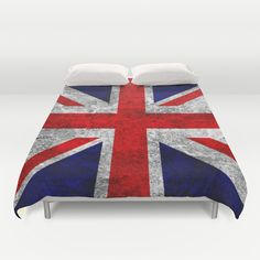 Union Jack Grunge Flag Duvet Cover - $99.00  #DuvetCover #Bedding #HomeDecor #Flag #London #England #UnionJack #RedWhiteBlue #Grunge