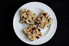 Altering The Krispy Rice Treat: Make It Healthier  -  rice krispie cake, squares, with fruit and nuts.  increase the fiber, lower the carbs.          lj