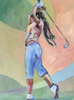 Daily Painting In Fine Form contemporary female golfer, painting by artist Carolee Clark