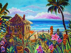 "Original Paintings : ,""A+"" Hawaiian - TIKI HULA HUT - SOLD"