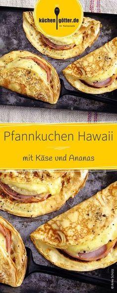 Pizza- oder Toasthawaii kennt jeder. Probiert es doch mal mit luftigen Pfannkuchen Hawaii! Die herzhaften Pfannkuchen werden mit Käse und Ananas gefüllt und schmecken einfach köstlich!