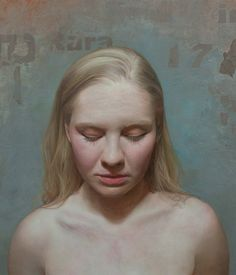 """Audrey"" - David Jon Kassan, oil on panel, 2013 {contemporary figurative realism art blonde female head #hyperreal woman face portrait cropped painting detail} davidkassan.com"