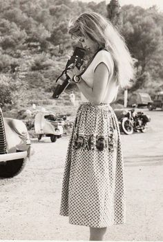 "missbrigittebardot: Brigitte Bardot on the set of ""The light across the street"", 1955"