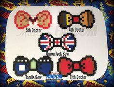 DOCTOR WHO Bow Tie - Hair Bow perler beads by MadamFANDOM - These are original MadamFANDOM designs -
