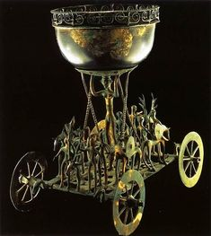 This ceremonial chariot, standing just over 23 inches, was unearthed at the Strettweg burial near Judenburg in Austria, and dates to circa 600 BC. Unlike many of the other objects on this list, this is an older form of art work, with more abstract anthropomorphic/zoomorphic art.