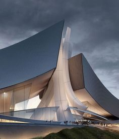 Crashing Waves-Tongyeong Concert Hall by Architecture in South Korea 🇰🇷 2009 Dynamic Architecture, World Architecture Festival, Organic Architecture, Futuristic Architecture, Beautiful Architecture, Contemporary Architecture, Interior Architecture, Interior Design, Concert Hall Architecture