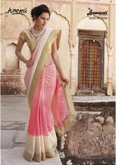 Majestic Light Coral chiffon saree revamped with brocade and sequence jari work carrying brocade golden blouse.