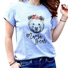 3ba1093280abf Junkai Famille Assortis Tops Ours Tie pour Maman Papa Enfants bébé Match  T-Shirt Mama Bear S