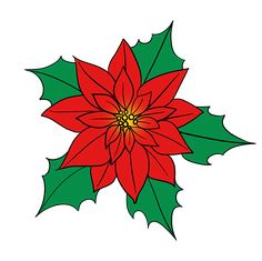How to Draw Poinsettia: Step 10 Christmas Rock, Christmas Poinsettia, Christmas Doodles, Christmas Drawing, Alcohol Ink Crafts, Diy Christmas Ornaments, Holiday Crafts, Christmas Illustration, Easy Drawings