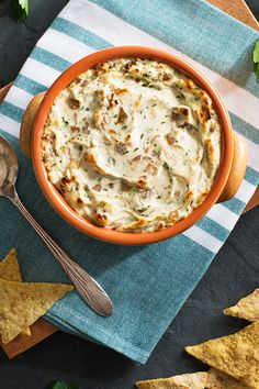 This warm, caramelized onion dip is the best! Dip with rice chips.