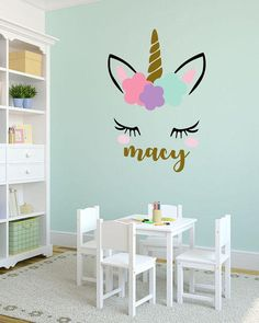 Unicorn monogram girls room vinyl wall decal Please leave the name as youd like it to appear in the message box when purchasing. The unicorn is black, soft pink, carnation pink, powder blue, lavender and metallic gold. The name is in your choice of colors. Our vinyl wall decals are
