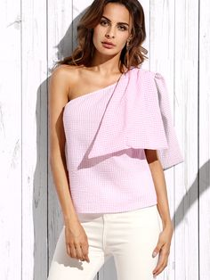 Pink Plaid Sleeveless Bow One Shoulder Blouse — 0.00 € ----------color: Pink size: L,M,S,XS