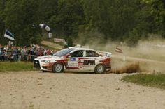 Ray Põder Alexey Lukyanuk leads the auto24 Rally Estonia   in his Mitsubishi Lancer Evolution X . Co-driven by Alexey Arnautov,