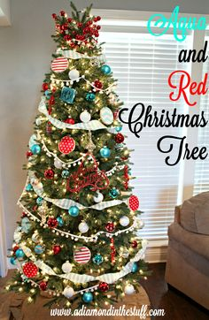 Aqua and Red Christmas Tree | A Diamond in the Stuff