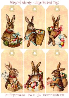 Large Bunnies Tags   Wings of Whimsy