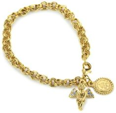 """The Vatican Library Collection Sweet Cherub Charm Bracelet The Vatican Library Collection. $26.00. Chain measures: 7""""L x 1/4""""W Vatican Library, Cherub, Swarovski Crystals, Jewelry Bracelets, Gems, Charmed, Chain, Stuff To Buy, Amazon"""