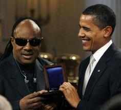 Stevie Wonder and President Obama.