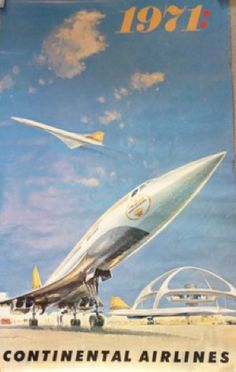 Concorde • Continental Airlines #travel #poster 1971