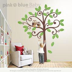 Owls and Swirly Tree Decal, Swirly Tree Nursery Wall Decal, Stickers. $95.00, via Etsy.